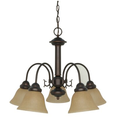 Nuvo Lighting Ballerina 5 Light Chandelier with Washed Linen Glass
