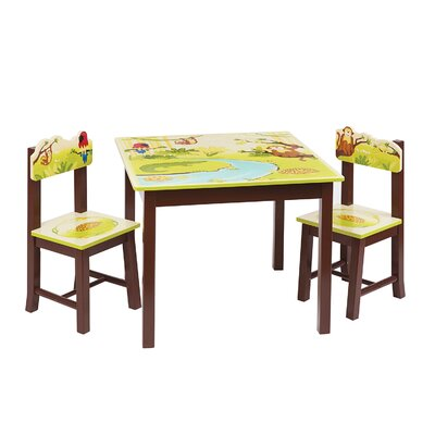 Jungle Party Kids 3 Piece Rectangle Table and Chair Set by Guidecraft