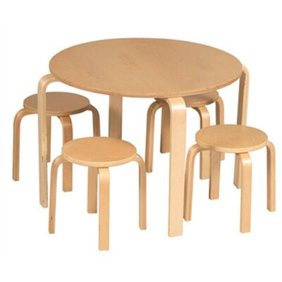 Guidecraft Natural Nordic Kids 5 Piece Table and Stool Set