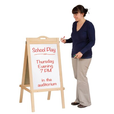 Guidecraft Classroom Furniture Message Free Standing Chalkboard, 4' x 2'