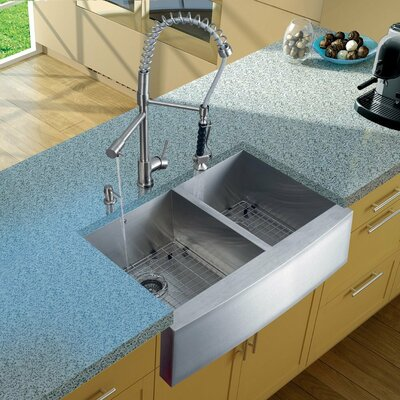 Two Handle Single Hole Pot Filler Kitchen Faucet with Pull-Down Spray Product Photo