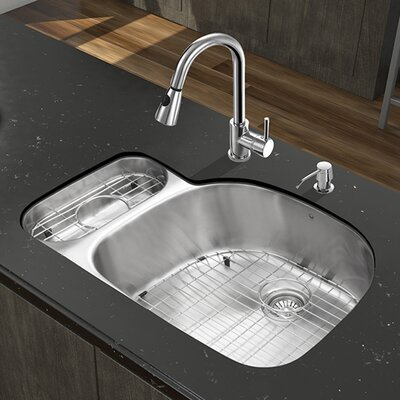 "Platinum 31.75"" x 21"" Undermount Stainless Steel Kitchen Sink with Faucet Product Photo"