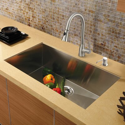 "Platinum 30"" x 19"" Undermount Stainless Steel Kitchen Sink with Faucet Product Photo"