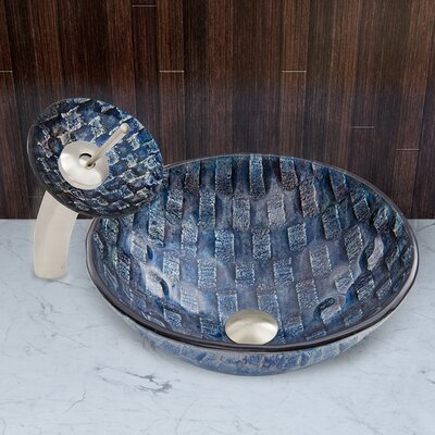 Rio Glass Vessel Sink and Waterfall Faucet Set by Vigo