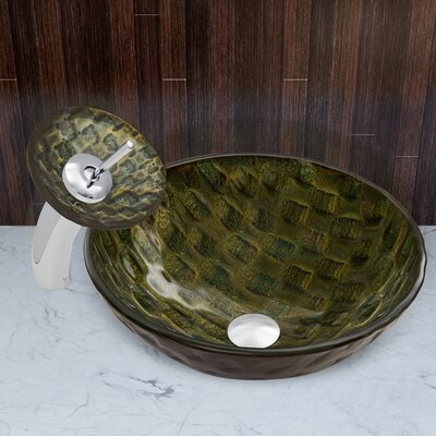 Amazonia Glass Vessel Sink and Waterfall Faucet Set by Vigo