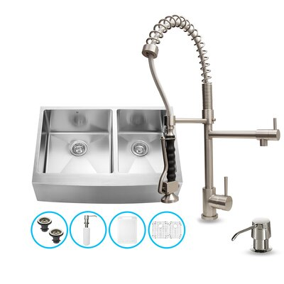 "Vigo 33"" x 27"" Double Farmhouse Kitchen Sink with Faucet, Two Grids, Two Strainers and Dispenser"