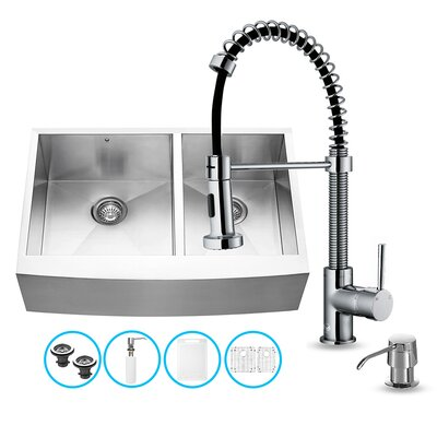 "Vigo All in One 33"" x 22.25"" x 18.5"" Farmhouse Double Bowl Kitchen Sink and Faucet Set"