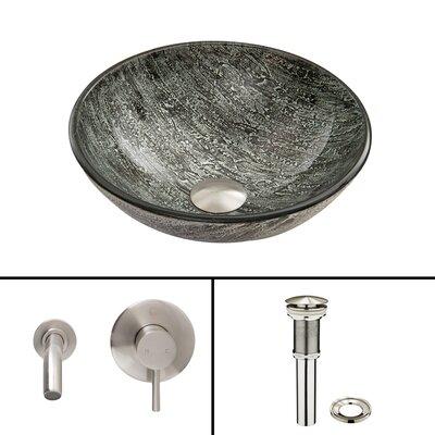 Titanium Glass Vessel Sink and Olus Wall Mount Faucet Set by Vigo