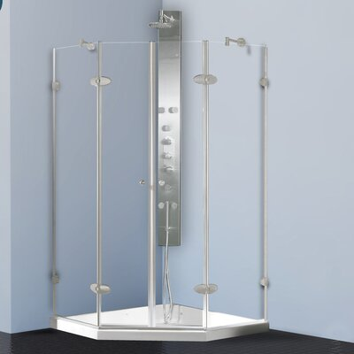 "43.13"" W x 43.13"" D x 78.75"" H Pivot Door French Frameless Shower Enclosure with Base Product Photo"