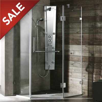VIGO Piedmont 38.125 x 38.125 Frameless Neo-Angle .375-in Clear Glass/Brushed Nickel Hardware Shower Enclosure Product Photo