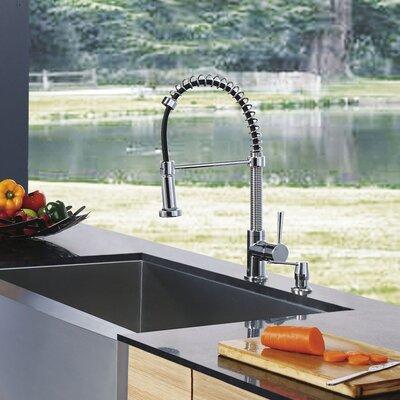 Vigo One Handle Single Hole Pull Out Spray Bar Faucet with Soap Dispenser