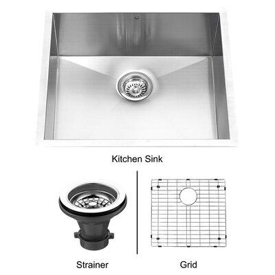 "23"" x 20"" Single Bowl Zero Radius 16 Gauge Kitchen Sink Product Photo"