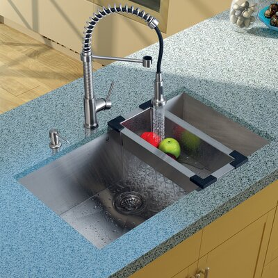 "32"" x 19"" Undermount Kitchen Sink with Faucet, Colander, Strainer and Dispenser Product Photo"