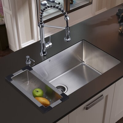 """32"""" x 19"""" Undermount Kitchen Sink with Faucet, Colander, Strainer and Dispenser Product Photo"""