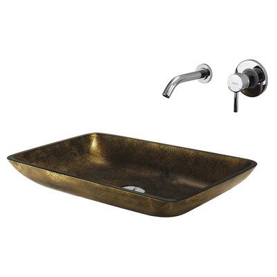 Copper Glass Rectangular Bathroom Sink with Faucet by Vigo
