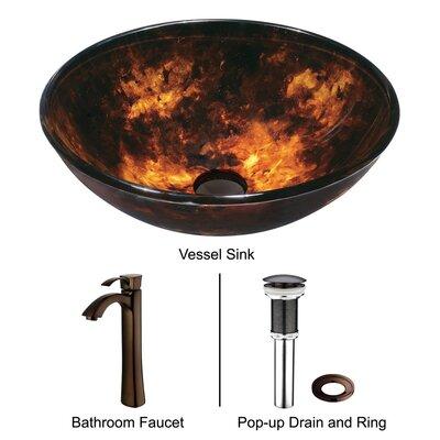 Vigo Tortoise Glass Bathroom Sink with Faucet