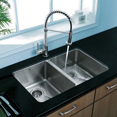 "29.25"" x 18.5"" Undermount Double Bowl Kitchen Sink Product Photo"