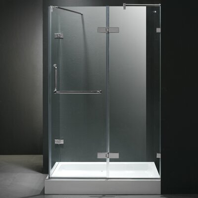 "38.31"" W x 30.25"" D x 73"" H Pivot Door Frameless Shower Enclosure with Left Drain Product Photo"