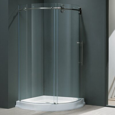 """38"""" W x 38"""" D x 74.63"""" H Sliding Door Frameless Round Clear Shower Enclosure with Right-Sided Door Product Photo"""