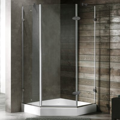 """34.06"""" W x 30.46"""" D x 73"""" H Pivot Door Frameless Clear Shower Enclosure with Base & Knob Handles Product Photo"""