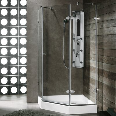 "34.06"" W x 34.06"" D x 73"" H Pivot Door Frameless Clear Shower Enclosure Product Photo"