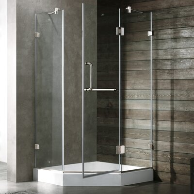 "34.06"" W x 34.06"" D x 73"" H Pivot Door Frameless Clear Shower Enclosure with Base Product Photo"