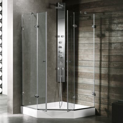 "40"" W x 40"" D x 73.38"" H Pivot Door French Frameless Shower Enclosure Product Photo"