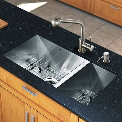 "All in One 29"" x 20"" Undermount Double Bowl Kitchen Sink and Faucet Set Product Photo"