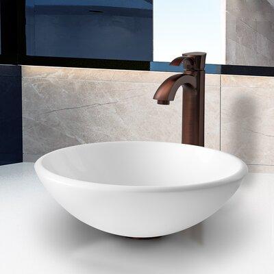 Stone Glass Vessel Bathroom Sink with Faucet by Vigo