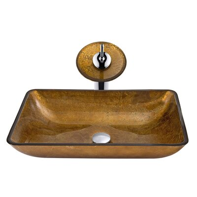 Rectangular Copper Glass Vessel Bathroom Sink and Waterfall Faucet ...