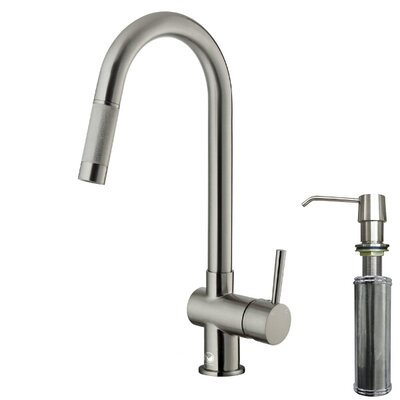 One Handle Single Hole Pull-Out Spray Kitchen Faucet with Soap Dispenser Product Photo