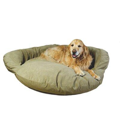Velvet Microfiber Bolster Dog Bed in Sage by Zoey Tails