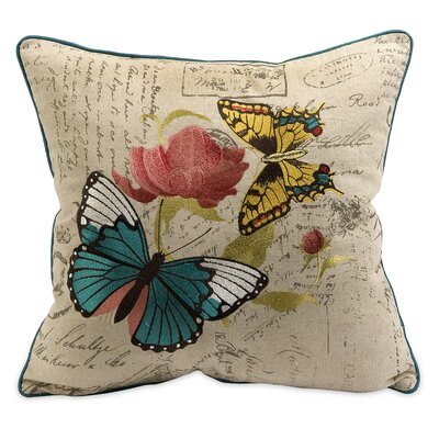 Margaret Embroidered Butterfly Throw Pillow by IMAX