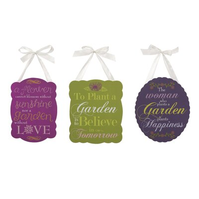 3 Piece Garden Inspired Plaques Set by IMAX