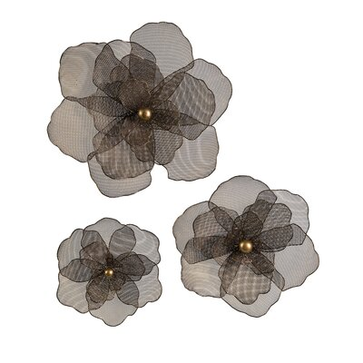 imax astaire 3 piece flower wall d cor set reviews wayfair. Black Bedroom Furniture Sets. Home Design Ideas