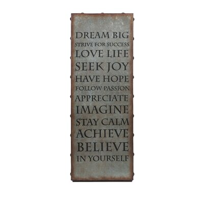 Galvanized Inspirational Textual Plaque by IMAX