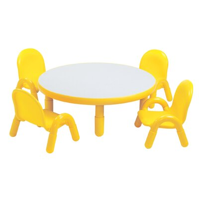 Angeles Round Baseline Toddler Table and Chair Set in Canary Yellow