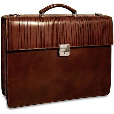 Monserrate Double Gusset Leather Briefcase by Jack Georges