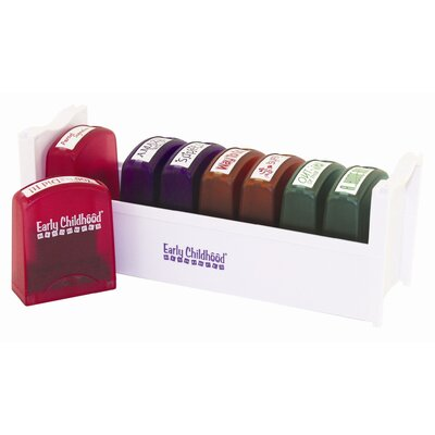 ECR4kids 8 Piece Self-Ink Teacher Stamps with Stand