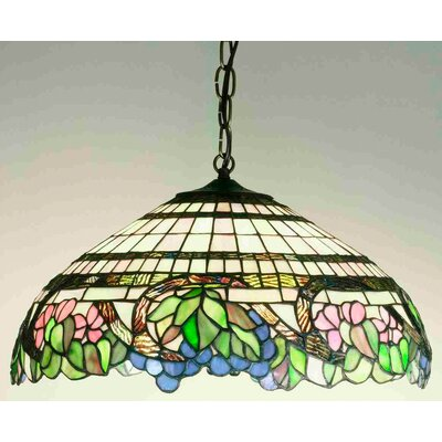 Meyda Tiffany Tiffany Floral Handel Grapevine 3 Light Inverted Pendant
