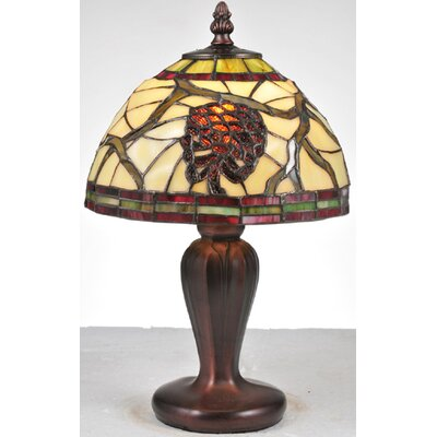 "Meyda Tiffany Lodge Tiffany Floral Burgundy Pinecone 13"" H Mini Table Lamp with Bowl Shade"
