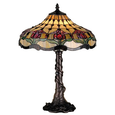 "Meyda Tiffany Victorian Tiffany Nouveau Colonial Tulip 19.5"" H Table Lamp with Bowl Shade"