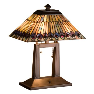 "Meyda Tiffany Tiffany Jeweled Peacock Oblong 20"" H Table Lamp with Square Shade"