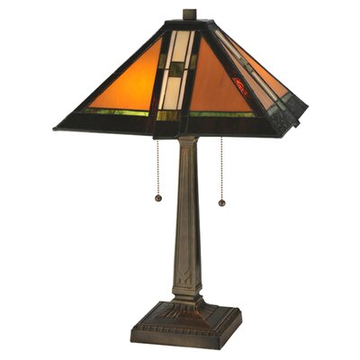 """Meyda Tiffany Prairie Parquet Mission 22"""" H Table Lamp with Square Shade"""