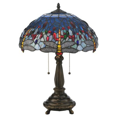 "Meyda Tiffany Tiffany Hanginghead Dragonfly 22"" H Table Lamp with Bowl Shade"