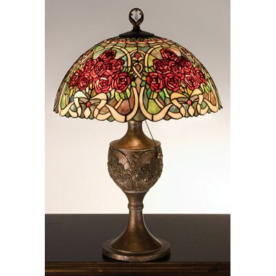 """Meyda Tiffany Rose Bouquet 22.5"""" H Table Lamp with Bowl Shade"""