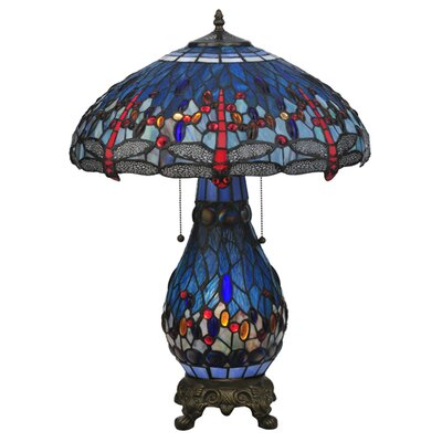 """Meyda Tiffany Tiffany Hanginghead Dragonfly Lighted Base 25.5"""" H Table Lamp with Bowl Shade"""