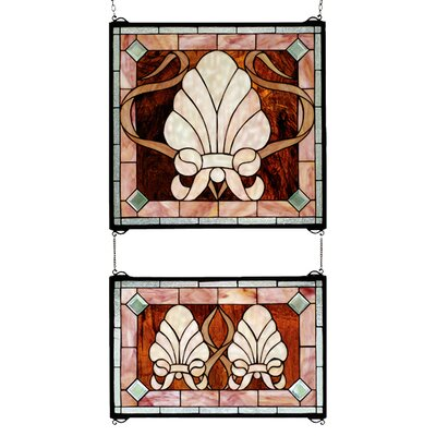 Meyda Tiffany Victorian 2 Piece Shell and Ribbon Stained Glass Window