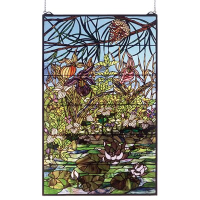Meyda Tiffany Lodge Tiffany Woodland Lilypond Stained Glass Window