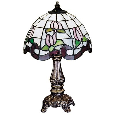 """Meyda Tiffany Floral 11.5"""" H Mini Table Lamp with Bowl Shade"""